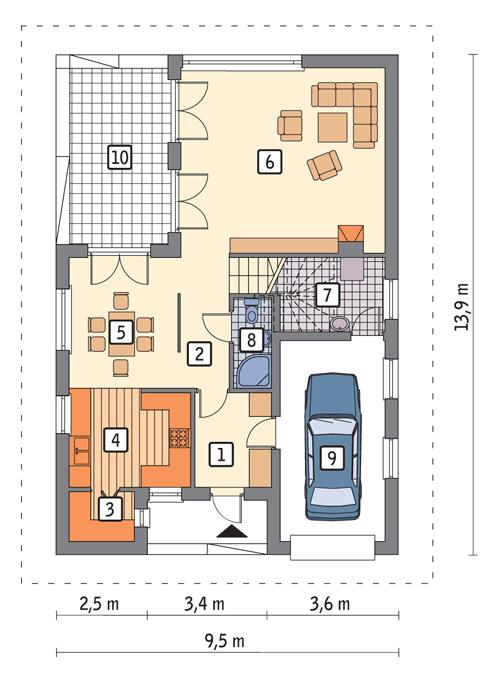 Rzut parteru POW. 86,3 m²