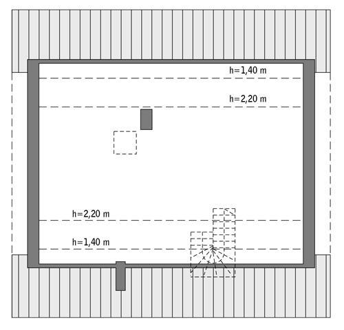Rzut poddasza: Do indywidualnej adaptacji (57,2 m2 powierzchni użytkowej)