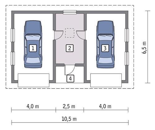 Rzut parteru POW. 52,9 m²