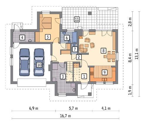 Rzut parteru POW. 119,2 m²