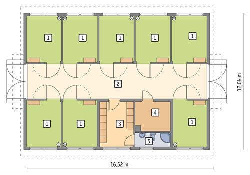 Rzut parteru POW. 168,4 m²