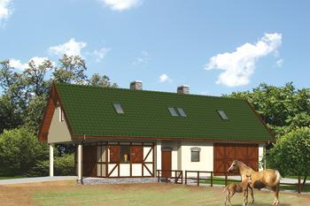 Stajnia dla 2 koni, z częścią mieszkalną