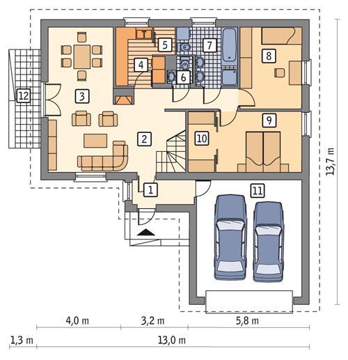 Rzut parteru POW. 116,5 m²