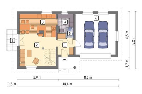Rzut parteru: wersja podstawowa POW. 82,7 m²