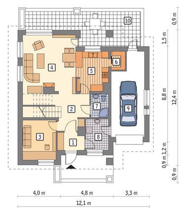 RZUT PARTERU POW. 65,6 m²