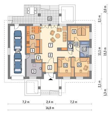 RZUT PARTERU POW. 116,9 m²
